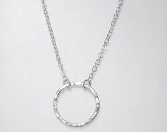 Hammered silver circle pendant necklace, eternity necklace, timeless modern style, UK shop