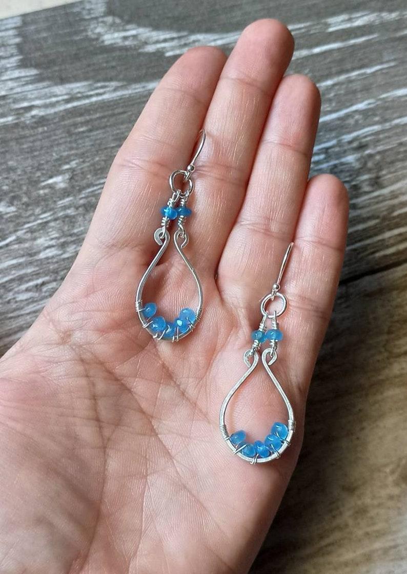 aesthetic earrings wire wrapped earrings boho earrings March birthstone earrings hoop earrings For her Silver earrings Jade earrings