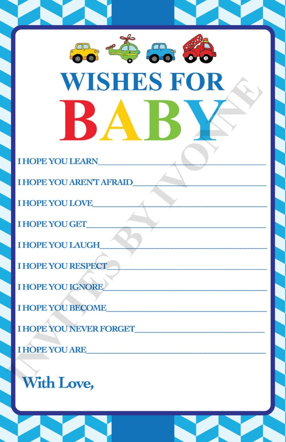 Baby Shower Game Wishes For Baby Cars Planes Trains Etsy