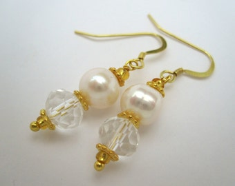 Pearl & Crystal Gold Vermail Wedding Earrings - handmade by metalsmith