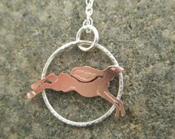 Running Hare Pendant in Sterling Silver With Copper Hare, Wild Hare silver copper necklace.  Handmade jewellery metalsmith necklace