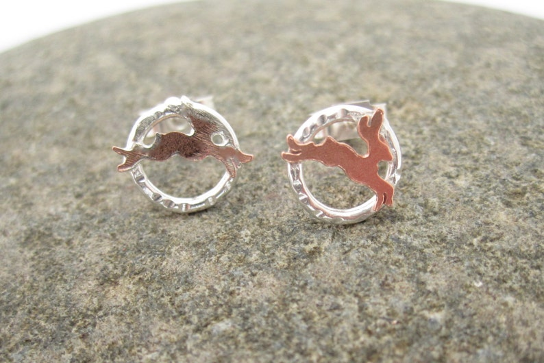 Teeny hare earrings rabbit Hare Earrings Tiny  Silver and copper British made British Silver Small Sterling Silver Copper Metalsmith