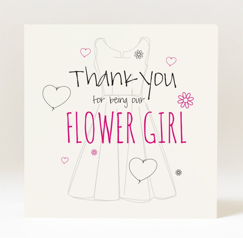 Hand designed thank you for being our bridesmaid flower girl chief bridesmaid card