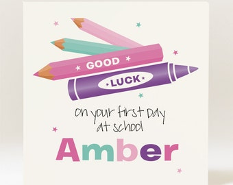 Handmade Personalised Good Luck On Your First Day at School Card - Girl