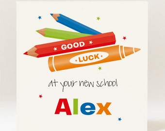 Handmade Personalised Good Luck At Your New School  Card - Boy
