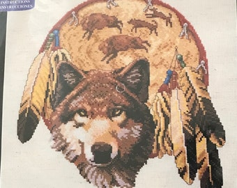 1995 Vintage The Gray Wolf Counted Cross Stitch Kit Cross My Heart OOP