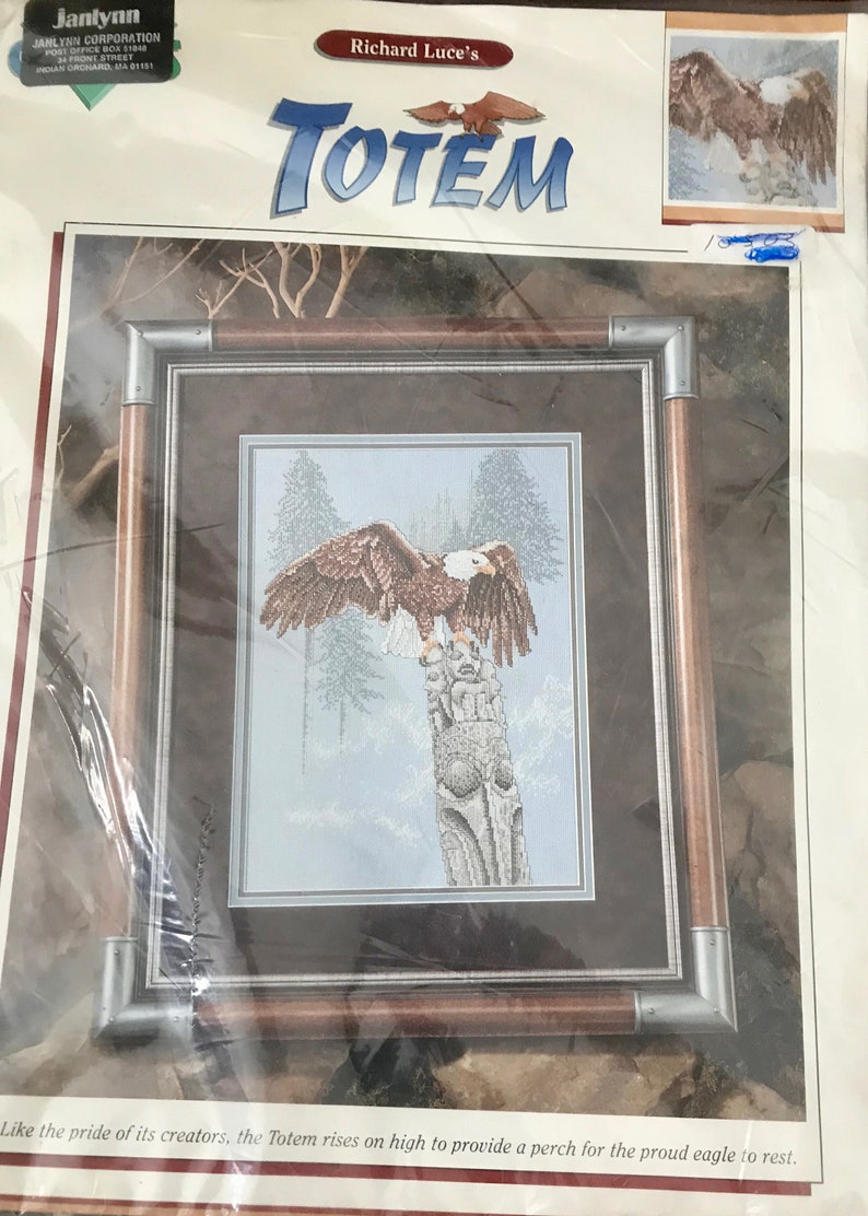 Vintage 1990 Richard Luce Eagle Totem Northwest Native American Counted  Cross Stitch Kit Janlynn