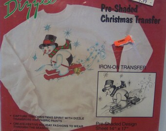 Vintage 1989 Snowman Santa Deer Christmas Shaded Iron On Transfer Fabric Painting Pattern by Dizzle OOP