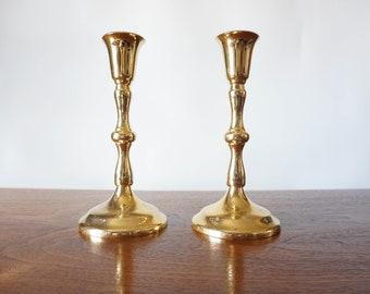 Vintage Set of 2 brass gold candlesticks candleholders