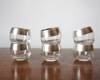 Authentic Vintage Dorothy Thorpe Silver Rim Roly Poly Silver Band Glasses Small Set of 6