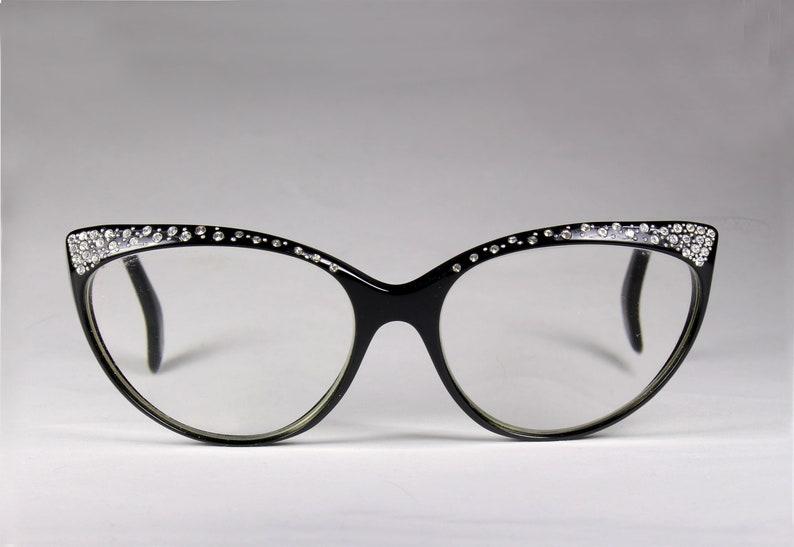 fa286acc92c03 VALENTINO Vintage 80s Cat Eye Black Rhinestone Eyeglasses