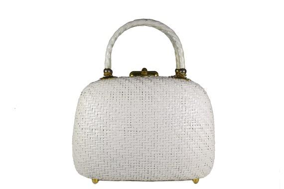 Vintage KORET white wicker handbag