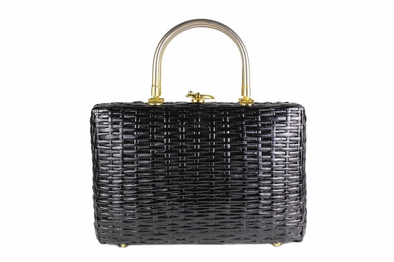 Vintage Structured Black Wicker Bag