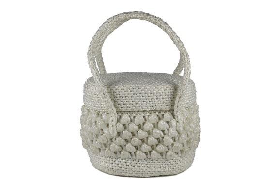 Vintage White Raffia Handbag