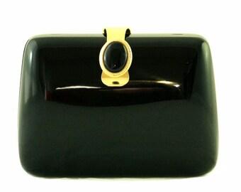 Vintage Black Acrylic Clutch With Black Brooch