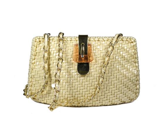 Vintage Ivory Plastic Wicker Handbag Clutch