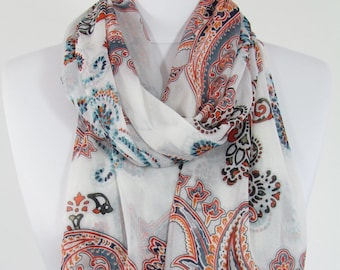 Mothers Day Gift For Her Paisley Scarf White Scarf Shawl Spring Summer Boho Scarf Infinity Scarf Mom Fashion Accessories Gift For Women 68