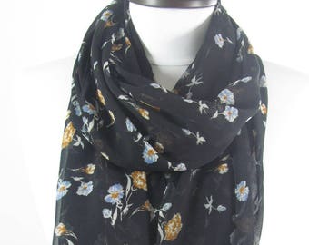 Mothers Day Gift For Her Floral Scarf Black Scarf Shawl Spring Summer Chiffon Scarf Bohemian Mom Fashion Accessories Gift For Women Mom 75