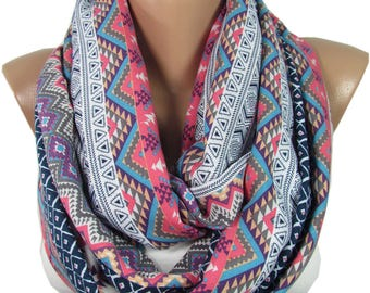 Tribal Scarf Boho Infinity Scarf Hipster Scarf Bohemian  Accessories Aztec Scarf Birthday  For Women For Girlfriend M50501 Gift For Women