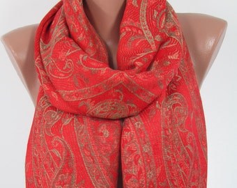 Pashmina Scarf Paisley Red Scarf Shawl     Fashion Scarf Fall Winter Scarf  Fashion Accessories Gift For Women Gift For Her  Women Scarf