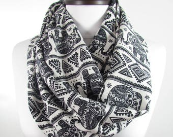 Elephant Scarf Travel Gift Tribal Scarf Clothing Gift Infinity Scarf  Gift For Women Gift For Traveler Gift For Her Gift For Women