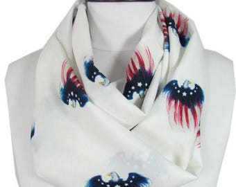 July 4th Scarf American Eagle Patriotic Scarf Infinity Scarf USA Flag Scarf Independence Day Memorial Day Fashion Accessoies Gift For Women