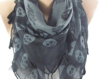 Skull Scarf Halloween Fashion fall accessories Day of the Dead Christmas Gift For Her Unique Gift For Women