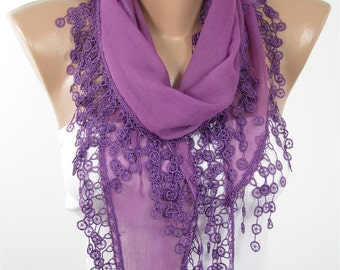 Soft Cotton Scarf Purple Scarf Spring Scarf Fashion Accessories Lace Summer Scarf  Gift Gift For Women Gift For Her  Women Scarf Accessories
