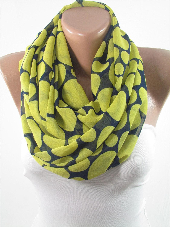 e35de1ae867 Christmas Gift For Her Polka Dots Scarf Shawl Wrap Navy Blue Yellow Scarf  Chiffon Scarf Infinity Scarf Fall Winter Fashion Accessories