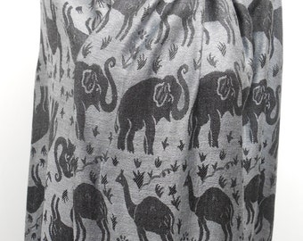 Elephant Scarf Gray Scarf Shawl Winter Scarf Travel Gift New Years Accessories  Gift For Her Gift For Women Gift For Women Gift For Her