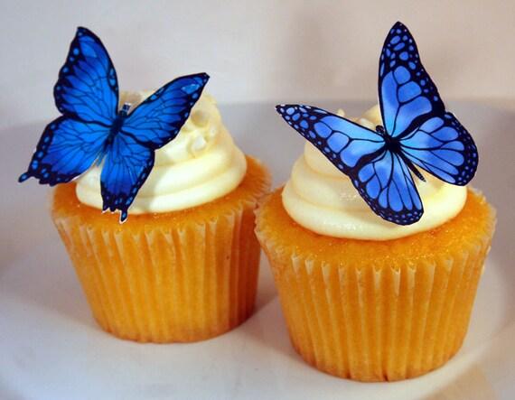 12 PAPILLONS LEOPARD prédécoupées comestibles gâteau cupcake toppers 2 grands