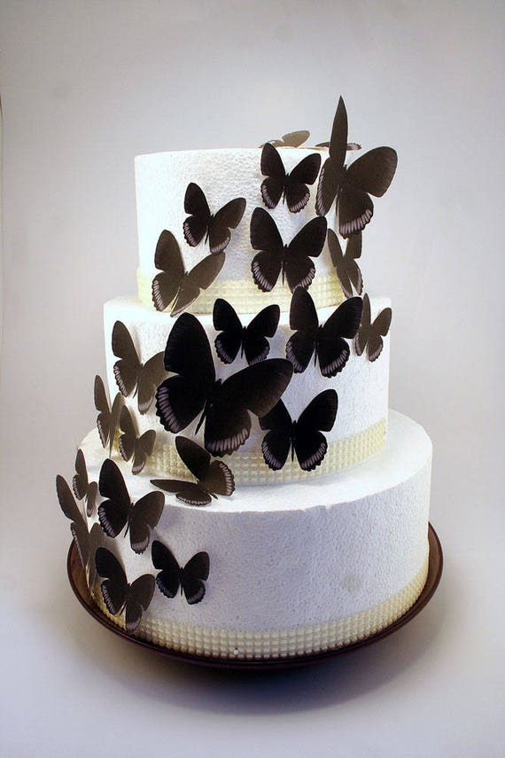 Edible Butterfly Cake Decorations Black And Grey Edible Etsy