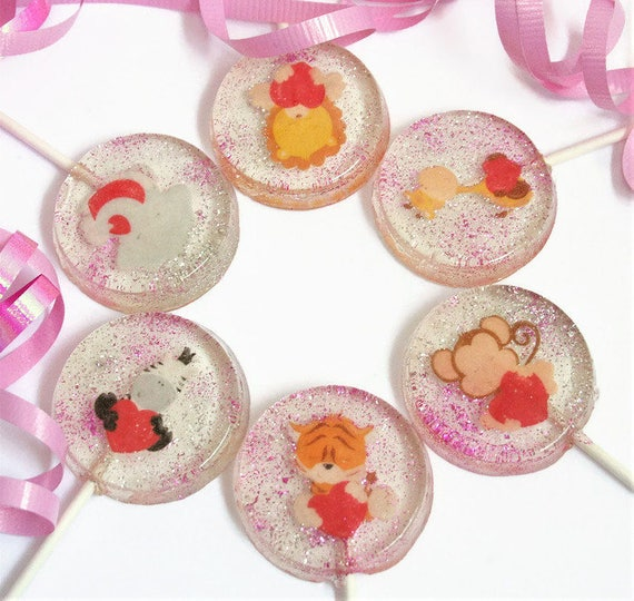 Valentine S Day Party Favor Lollipops Zoo Animals Etsy