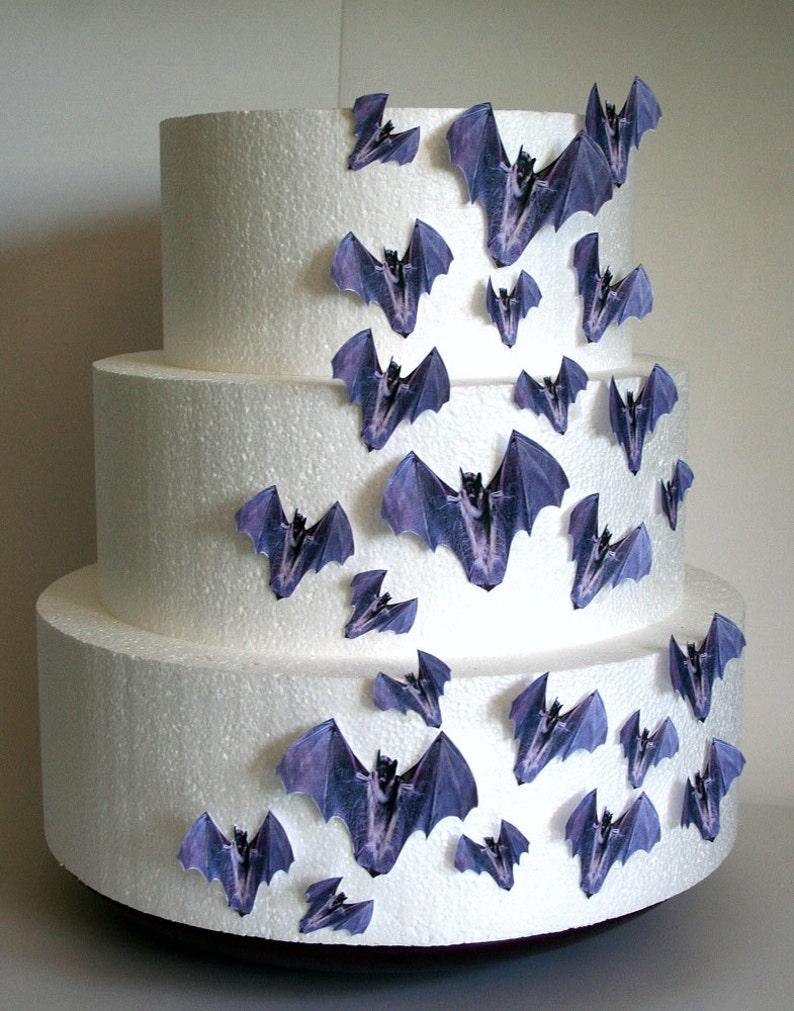 Wedding Cake Toppers, Halloween Cake Topper Edible Bats, Set Of 24 DIY Cake  Decor, Cupcake Toppers, Halloween Wedding Cake, Gothic Wedding