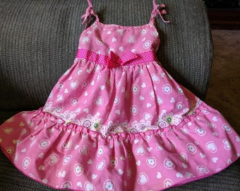 e2c6156a5c911 Baby sun dress by Blueberi Boulevard S-18 mos. Hot pink with hearts and  flowers Ties on sholders. full ruffled skirt gro grain ribbon