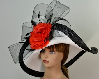 314d6741 White Black Strips Red Woman Party Hat Kentucky Derby Hat Tea Hat Wedding  Accessory Cocktail Party Hat Church Hat