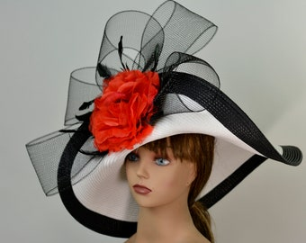 9f538ea0 White Black Strips Red Woman Party Hat Kentucky Derby Hat Tea Hat Wedding  Accessory Cocktail Party Hat Church Hat