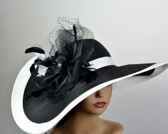 0ea34cdf Black White Strips Floppy Woman Party Hat Kentucky Derby Hat Tea Hat  Wedding Accessory Cocktail Party Hat Church Hat