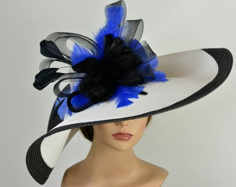 c751e1c0977 Black White Strips Floppy Woman Party Hat Kentucky Derby Hat Tea Hat  Wedding Accessory Cocktail Party Hat Church Hat