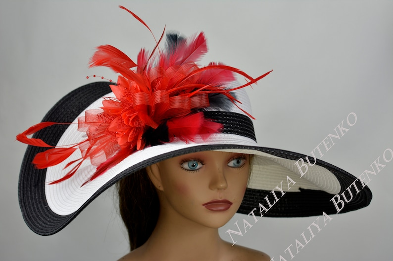 White Black Red Woman Party Hat Kentucky Derby Hat Tea Hat Wedding Accessory Cocktail Party Hat Church Hat