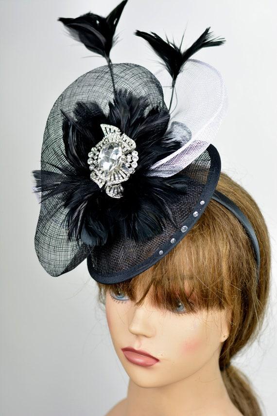 ec7632bb146 Black Sinamay Kentucky Derby Hat Fascinator Headband Wedding