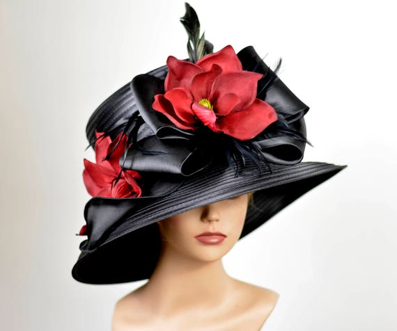 d0d1b9c644649 Black Wedding Hat Kentucky Derby Hat Bridal Satin Hat Tea