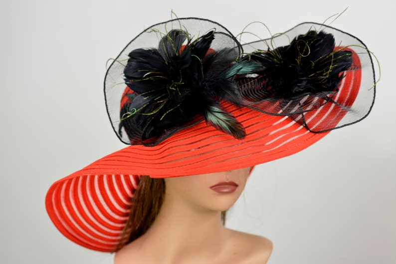 d01f0c4d1cb61 Red Black Wedding Head Piece Kentucky Derby Hat Fascinator