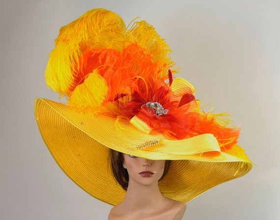 Huge Yellow Wedding Kentucky Derby Wedding Cocktail Hat Woman  2ae66fd0b49