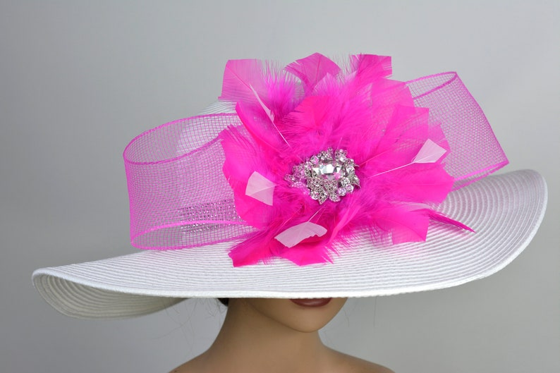 White Fuchsia Woman Party Hat Kentucky Derby Hat Tea Hat Wedding Accessory Cocktail Party Hat Church Hat