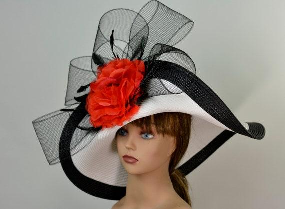 31b0cf85 White Black Strips Red Woman Party Hat Kentucky Derby Hat Tea | Etsy