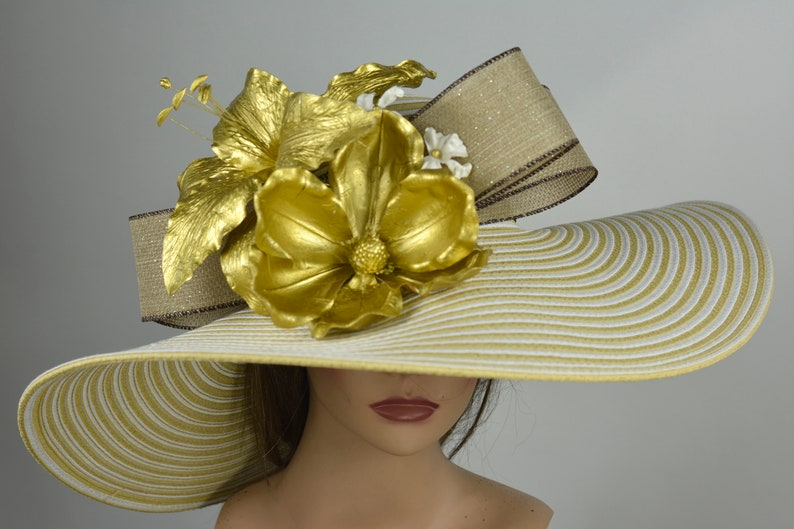 Gold Strips Woman Party Hat Kentucky Derby Hat Tea Hat Wedding Accessory Cocktail Party Hat Church Hat