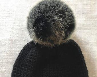 cef206767f2535 Black Knit Hat with Faux Fur Pom Pom, Dark Gray Pom Pom, Chunky Yarn Knit  Hat, Wool Winter Hat