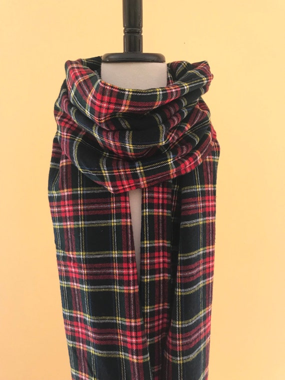 Plaid flannel scarves Red Image Edinboro Bookstore Logo Red Green Yellow Black Plaid Flannel Scarf Fall Colors Etsy