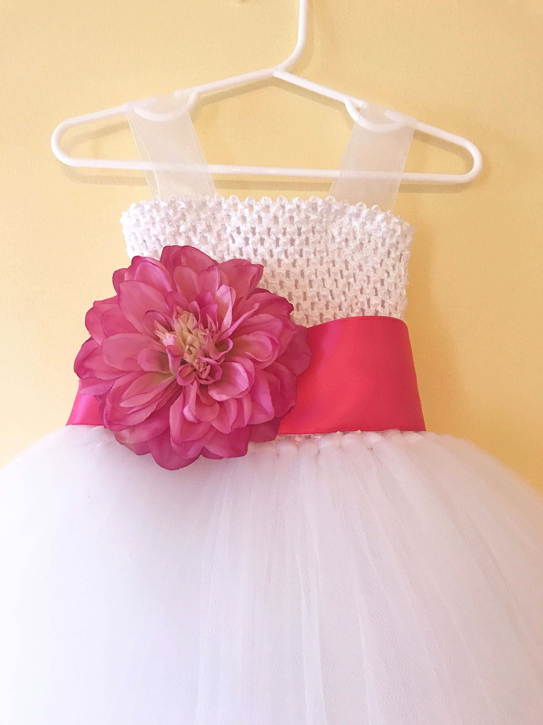 White Fluffy Tulle Flower Girl Dress With Sewn Ribbon Straps Etsy